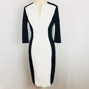 Ted Baker Midi Black & white color block Dress